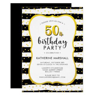 50. Geburtstags-gestreiftes Gold und Schwarzes 12,7 X 17,8 Cm Einladungskarte
