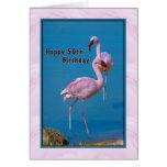 50. Geburtstags-Karte mit rosa Flamingo