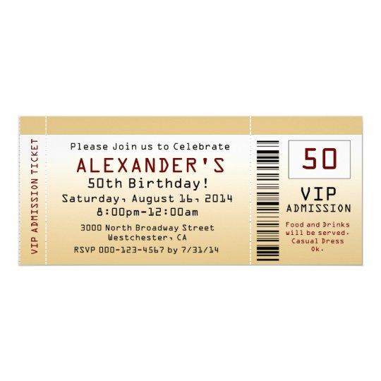 50. Geburtstags-Party Einladungs-Goldtone Karte