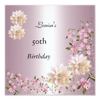 50. Geburtstags-rosa Lotus-Blüte mit Blumen Quadratische 13,3 Cm Einladungskarte