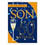 50. Geburtstags-Sohn - Champagne-Glas Grußkarte