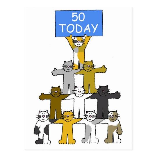 50 Geburtstags Spass Cartoon Katzen Postkarte Zazzle At