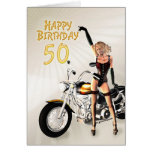 50. Geburtstagskarte mit einem Motorradmädchen