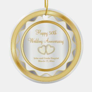 50. Gold und weißer Hochzeitstag Rundes Keramik Ornament