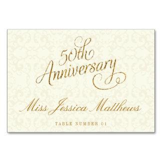 50. Goldene Hochzeits-Jahrestags-Platzkarten