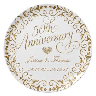 50. Goldener Hochzeitstag-dekorative Platte Flache Teller