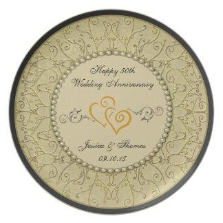 50. Goldener Hochzeitstag-dekorative Platte Flacher Teller