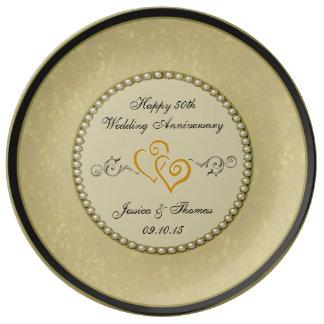 50. Goldener Hochzeitstag-dekorative Platte Porzellanteller