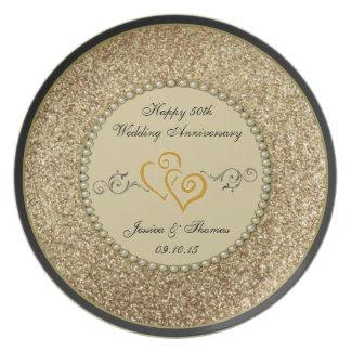 50. Goldener Hochzeitstag-dekorative Platte Teller
