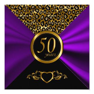 50. Goldenes Leopard-Muster des Hochzeitstag-  Quadratische 13,3 Cm Einladungskarte