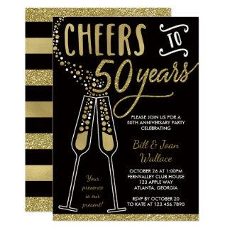 50. Hochzeits-Jahrestags-Einladung, Imitat-Glitter Karte