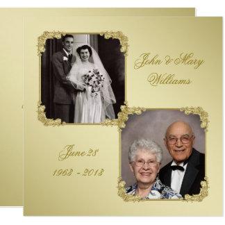 50. Hochzeits-Jahrestags-Foto-Einladungs-Karte Karte