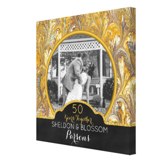 50. Hochzeits-Jahrestags-Foto-Gold 50 Jahre Leinwanddruck