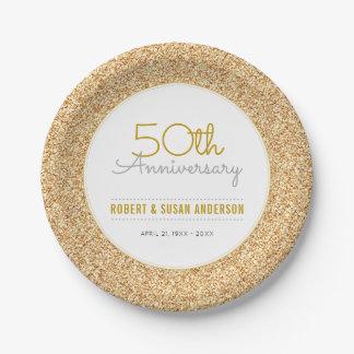 50. Hochzeits-Jahrestags-Imitat-GoldGlitter Pappteller