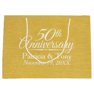 50. Hochzeits-Jahrestags-personalisiertes Goldenes Große Geschenktüte