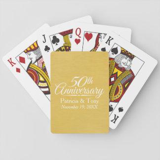 50. Hochzeits-Jahrestags-personalisiertes Goldenes Spielkarten