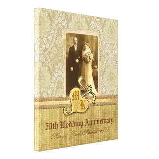 50. Hochzeitstag-antikes Damast-Gold Leinwand Drucke