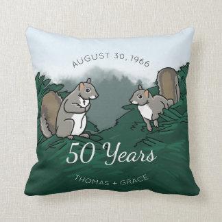 50. Hochzeitstag-Eichhörnchen Zierkissen
