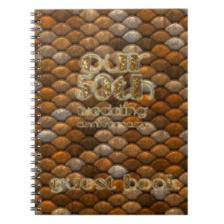 50. Hochzeitstag-Gast-Buch-Kupfer-Gold Spiral Notizblock