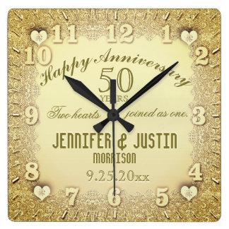 50. Hochzeitstag Quadratische Wanduhr