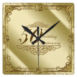 50. Hochzeitstag-Wanduhr Quadratische Wanduhr