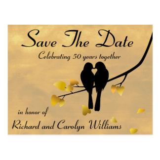 50. JahrestagLovebirds Save the Date Postkarte