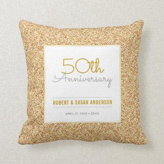 50. Jahrestags-Imitat-GoldGlitter-Andenken Kissen