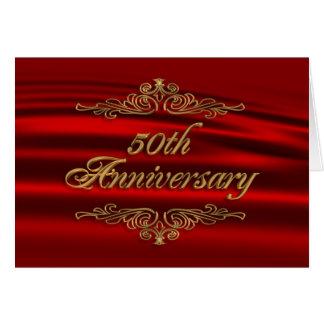 50. Jahrestags-Party Einladungs-Rotgold Karte