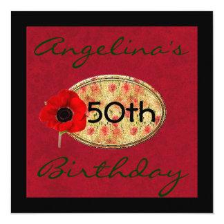 50. Mohnblumen-Blumen-Geburtstags-Einladung Quadratische 13,3 Cm Einladungskarte