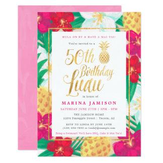 50. Rosa u. Gold Geburtstag Luau Einladungs-| 12,7 X 17,8 Cm Einladungskarte