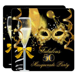 50 u. fabelhaftes Goldschwarz-Maskerade-Party Karte