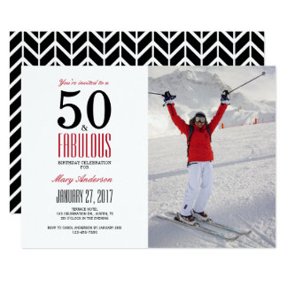 50 und fabelhafte | 50. Geburtstags-Party 12,7 X 17,8 Cm Einladungskarte