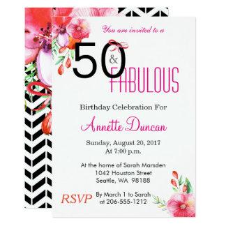 50 und fabelhafte Blumen50. Geburtstags-Einladung 12,7 X 17,8 Cm Einladungskarte