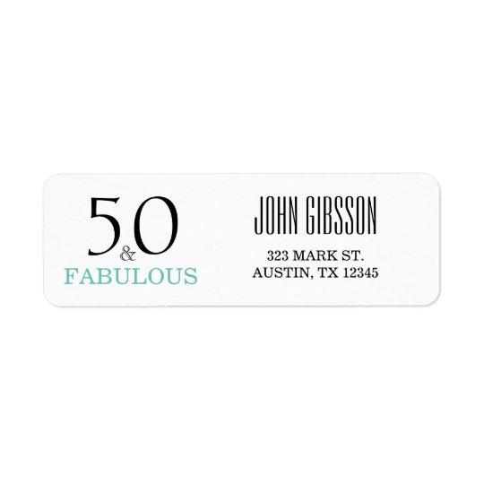 50 und fabelhafter 50. Rückversand-Adressaufkleber