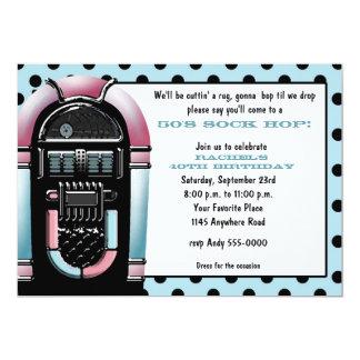 50er Jukebox-Geburtstags-Einladung 12,7 X 17,8 Cm Einladungskarte