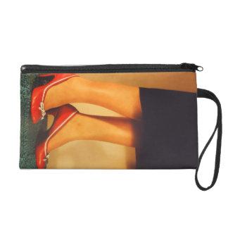 50er roter hoher Heels Wristlet Handtasche