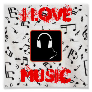 57MusicNotes, headphones1, i-LIEBE, MUSIK Poster