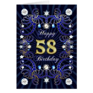 58. Geburtstagskarte mit Massen der Juwelen Karte