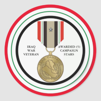 5 DER KAMPAGNEN-STERN-IRAK-KRIEGSVETERAN RUNDER AUFKLEBER