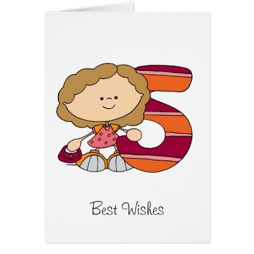 5. Geburtstag - Gruß-Karte - Mädchen