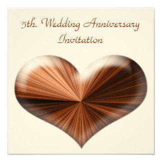 5. Hochzeitstag-Einladung Quadratische 13,3 Cm Einladungskarte