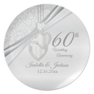 60. Diamant-Hochzeitstag-Andenken Melaminteller