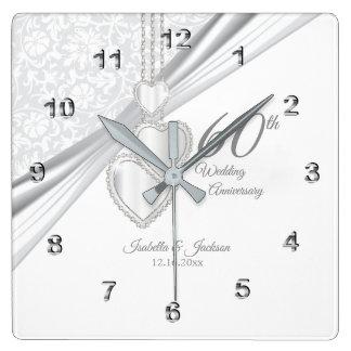 60. Diamant-Hochzeitstag-Andenken Quadratische Wanduhr