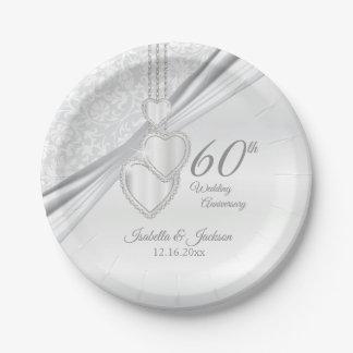 60. Diamant-Hochzeitstag Pappteller