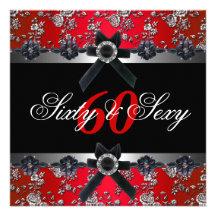 60. Geburtstags-Party-Silber-rotes Schwarz-weißes Individuelle Ankündigskarten
