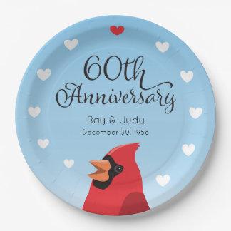 60. Hochzeits-Jahrestag, Kardinal und Herzen Pappteller 22,9 Cm