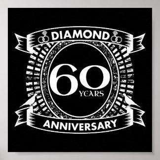 60. Hochzeitsjahrestags-Diamant-Wappen Poster