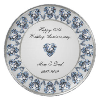 60. Hochzeitstag-Melamin-Platte Teller