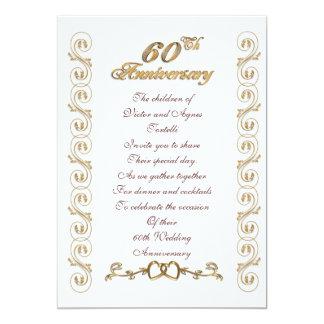 60. Jahrestags-Party für Eltern 12,7 X 17,8 Cm Einladungskarte