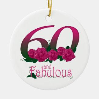 60 und fabelhaftes 60. Geburtstagsdivarosa mit Keramik Ornament